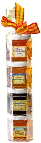 Konfitüre Honig Geschenk Set aus dem Allgäu - 2 x 50g Hausgemachter Fruchtaufstrich und 2 x 50g Honig aus Deutschland in der Geschenkrolle - Perfektes Geschenk für Marmelade und Honig Liebhaber