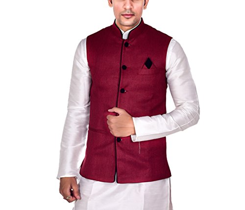 Ellegent-Exports-Mens-Ethnic-Modi-Nehru-Jute-Jacket-Maroon-with-Black-Piping