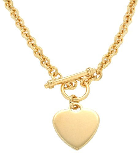 Tuscany Silver Sterling Silver Gold Plated Heart T-Bar Belcher Necklet of 51cm/20""