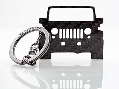 BlackStuff Carbon Karbonfaser Schlüsselanhänger Kompatibel mit Wrangler JK 2006-2018 BS-621 - Jeep Wrangler Rubicon Modell