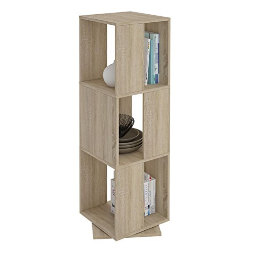 CARO-Möbel Drehregal KOPENHAGEN Bücherregal Standregal Dekoregal mit 3 Fächern in Sonoma Eiche