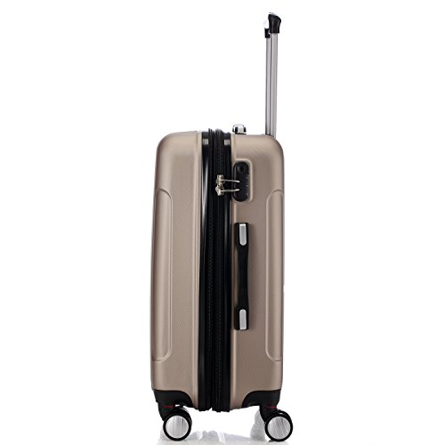 Zwillingsrollen 2050 Hartschale Trolley Koffer Reisekoffer in M-L-XL-Set in 12 Farben (Set , Champagner) - 4