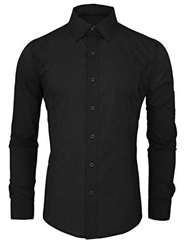 HRYfashion -  Camicia Casual  -  Vestito modellante  - Basic - Classico  - Maniche lunghe  - Uomo Nero