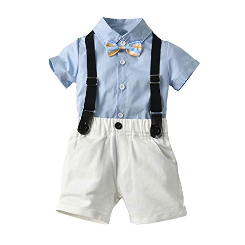sunnymi  Jungen Tops + Shorts Outfits Set, Gentleman Bow Tie Solides T-Shirt Oberteile + Shorts Overalls