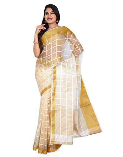 Roopkala Silks & Sarees Organza Saree (Sv-1521_Cream)