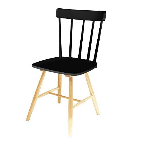 THE HOME DECO FACTORY - HD3504 - Lot de 2 Chaises Bistrot Bois Noir 47 x 53,3 x 87,2 cm