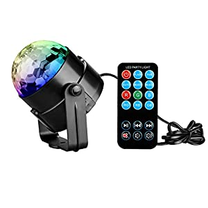 Coidea 7 Farbe LED Disco Beleuchtung Projektor mit Fernbedienung Sound Auto-Blitz RGB Mini Rotating Magic Mirror Ball Bühnenbeleuchtung für KTV Xmas Party Wedding Show
