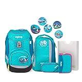 Ergobag Pack Hula HoopBär - Blau, ergonomischer Schulrucksack, Set 6-teilig, 20 Liter, 1.100 g, Blau