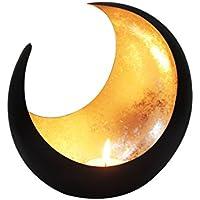 MAADES Windlicht Laterne orientalisch Moon Groß 20cm Gold | Orientalische Vintage Teelichthalter Schwarz von außen und Goldfarben innen | Marokkanische Windlichter aus Metall ALS Dekoration