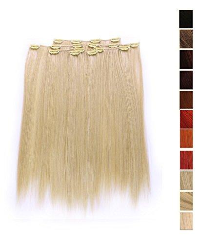 Cosplayland BL20 - 7 ciocche di extension con clip, lunghe 50 cm, capelli lisci e soffici colore: Biondo chiaro