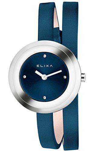 Watch Double Wrap (Elixa e092-l350Damen-Armbanduhr Dunkelblau Double Wrap Leder Strap)