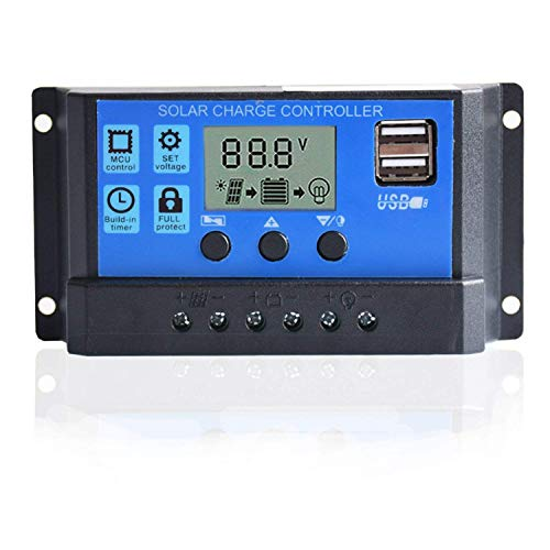 10A Solarladeregler Solar Panel Batterie Intelligente Regler USB Port Display 12 V / 24 V (Usb-port Solar-panel)