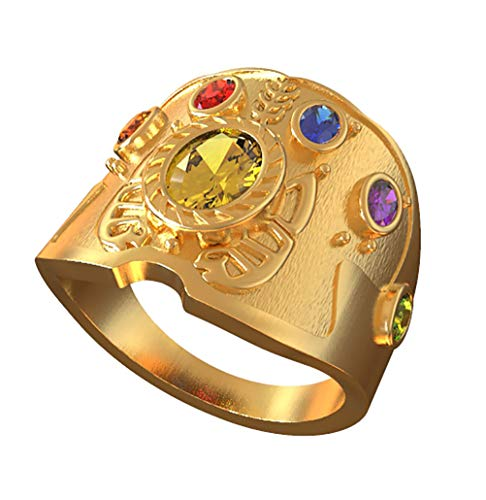 Pandacos Thanos Ring The Avengers Endgame Ring golden aus Zink-Legierung&Zirkon 6 Edelstein Cosplay Zubehör