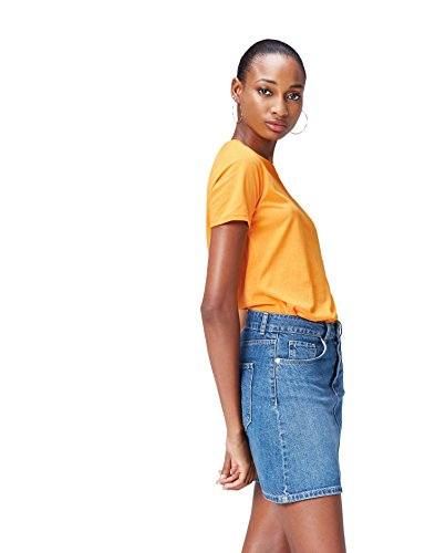FIND Damen T-Shirt Plain Orange (Mango), 36 (Herstellergröße: Small)