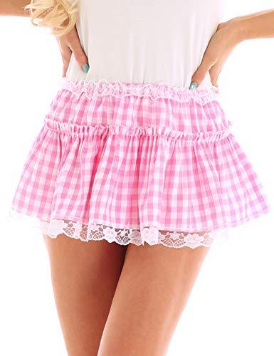 Kostüm Kleid Gingham - inhzoy Unisex Herren Damen Elastischer Bund Kurzer Rock Spitze Saum Plissiert Gingham-A-line Mini Rock Gr. X-Large, Rose