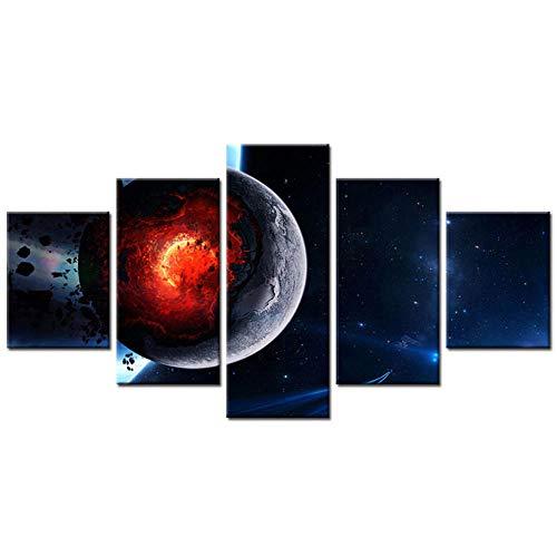 Sanzx Modernes Home Wandbild auf Leinwand, Motiv Star Wars Asteroid Night Sky Red Sun Moon Surface Art HD Print Gemälde, rahmenlos, 30 x 40 x 2, 30 x 60 x 2, 30 x 80 cm