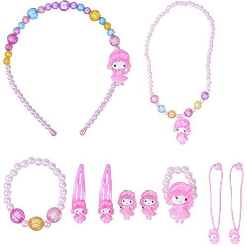 Larcenciel Kinder Schmuck Blumen Halskette Armband Ring Ohrring Set Bonbonfarben Halsketten Kinder Spielen Pretend Dress Up (10 Pcs Girls)