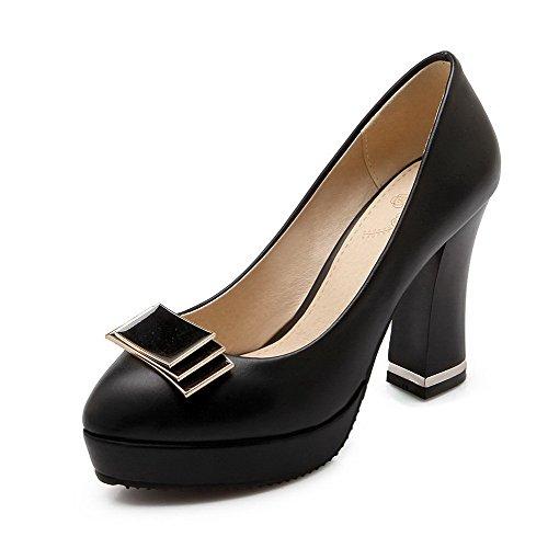 AllhqFashion Femme Tire Pu Cuir Rond Couleur Unie Chaussures Légeres Noir