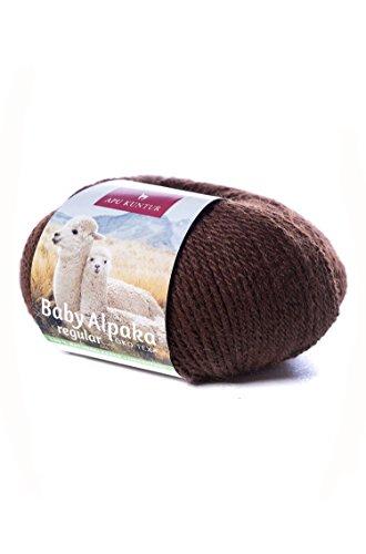 Baby-Alpaka Woll-Knäuel REGULAR 50g 100m Nadel 4 Strick-Häkel-Garn APU KUNTUR dunkel-braun