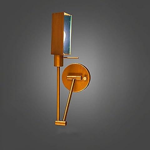 Vintage Industrial Swing Arm Wandleuchte-JRMJ Bunte WL-verstellbare Retro Eisen Wandleuchte Hohe Helligkeit Flexible Arm Wandleuchten mit Kupfer Farbe E27 90-240 Volt AC High: 4,72 Zoll / 12 (Auswahl Innen Anhänger 1 Licht)