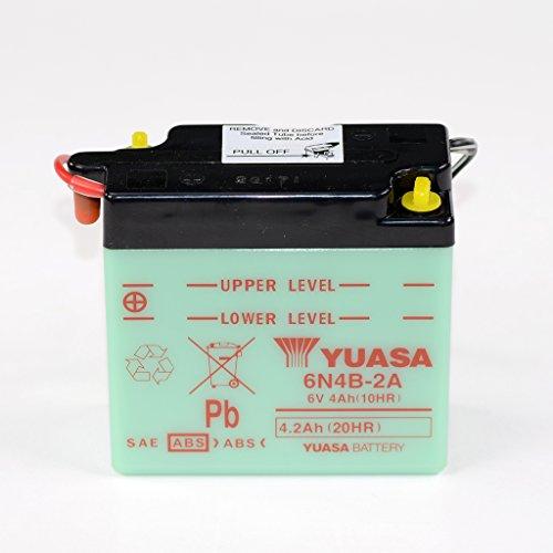 Batteria 6V 4Ah 6N4B 2A, bagnata Yuasa DIN 00412per MZ TS 125  DR 400DR400  DR 500DR500  GN 400gn400  GN 400L gn400  GN 400TD gn400  GT 80e, X3E GT80  GT 80L chop GT80  RV 90RV90