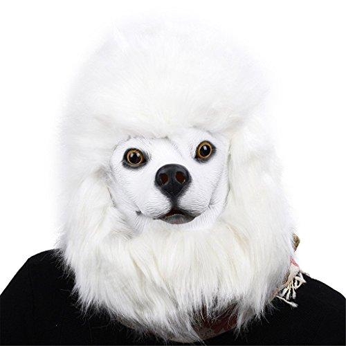 Kostüme Labor Hund Halloween (Auspicious beginning Neuheit Latex Weiß Pudel Hund Kopf Kostüm)