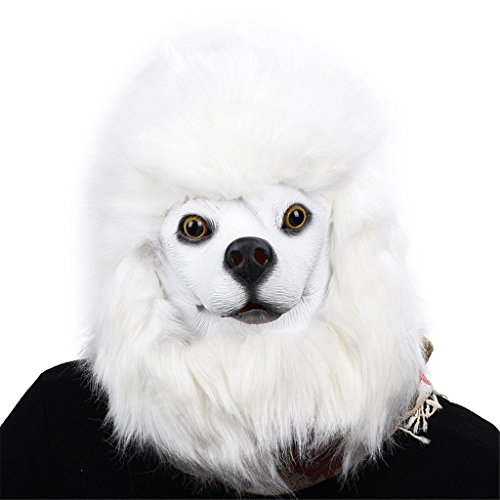 Auspicious beginning Neuheit Latex Weiß Pudel Hund Kopf Kostüm (Pudel Mini Schwarz)