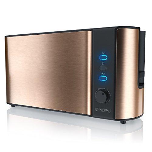 Arendo - Automatik Toaster Langschlitz | Defrost Funktion | Wärmeisolierendes Doppelwandgehäuse | Automatische Brotzentrierung | abnehmbarer Brötchenaufsatz | herausziehbare Krümelschublade