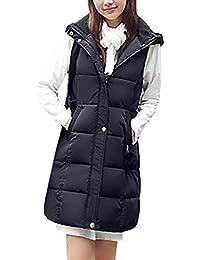Chaleco Acolchado Mujer Elegante Largos Otoño Invierno Pluma Camisolas Encapuchado Termica Espesor Sin Mangas Informales Fashion