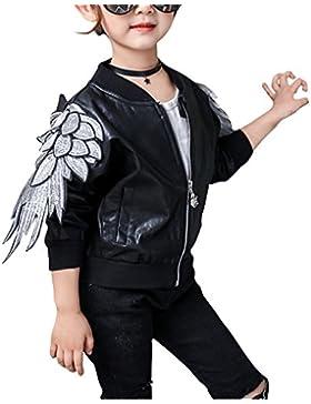 Niñas Chaqueta Manga Larga Casual Abrigos de Cuero PU Cremallera Outwear Jacket