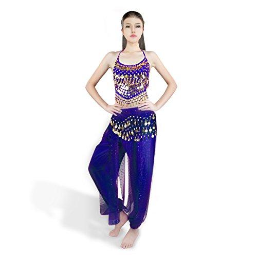 SymbolLife Bauchtanz kostüm damen indischen Tanzkleidung Tanzkostüme Halloween Karneval Muttertag Kostüme Darbietungen Kleidung Das Obere + Pluderhosen + Gürtel dark mineral (Traditionelle Bauchtanz Indische Kostüme)