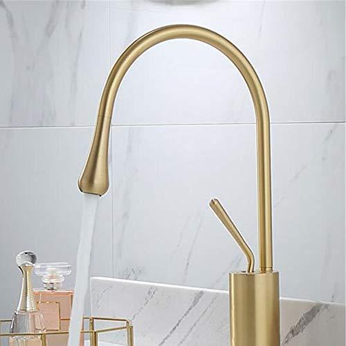 ZHENDIQ Küchenarmatur, Kupfer für heiße und kalte Küche, Moderne Einhebelstruktur, massives Messing, Gold, W*H:20 * 35cm