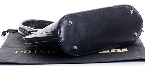 Cuoio italiano foglia Design goffrato Bowling stile manico mano borsa Shoulderbag.Include una custodia protettiva marca Nero