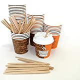 Extiff – Set di 100 Bicchieri in Cartone Kraft, con coperchi e fruste per caffè da Prendere 100 Ml