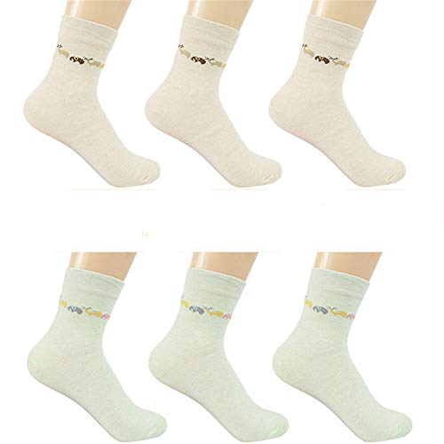 zhaoaiqin 6 Paar, Frauen Sportsocken, Frühling und Herbst dünne Baumwollsocken, Baumwolle Deo Socken, Feuchtigkeitstransport, Khaki 3 hellgrün 3