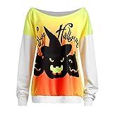 VEMOW Heißer Damen Frauen Halloween Teufel Print Langarm Casual Täglichen Party Tops Bluse Shirt Pullover(Weiß, EU-38/CN-S)