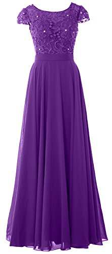 MACloth Women Cap Sleeve Mother of Bride Dress Vintage Lace Evening Formal Gown purple