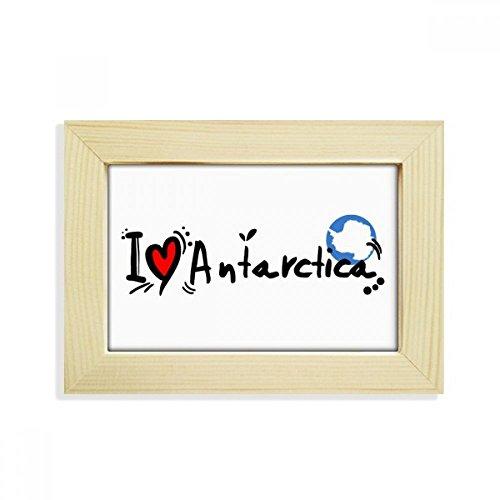 DIYthinker I Love Antarktis Wort Flagge Love Herz Illustration Desktop Holz Bilderrahmen Art Malerei 12,7x 17,8cm