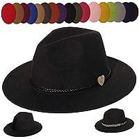 YiyiLai Men Women Vintage Wide Brim Felt Fedora Hat Wool Panama Cap & 2pcs Removable Bands