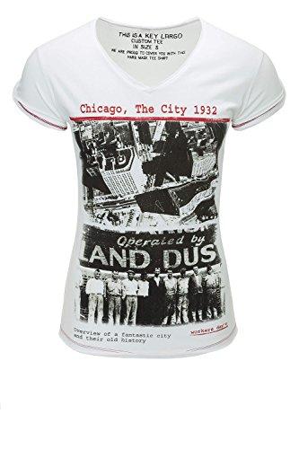 Key Largo Herren T-Shirt Kurzarmshirt Print Shirt V-Neck White