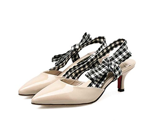 Onfly 6cm Kitten Heel Spitz Slingbacks Sandalen Kleid Schuhe Frauen Pump Einfache Plaid Bow-Tie Tuch OL Court Schuhe Party Schuhe Eu Größe 34-40 (Farbe : Beige, Größe : 36) Plaid Bowties