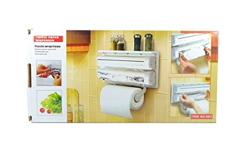 Jannat Triple Paper Dispenser & Holder For Cling Film Wrap Aluminium Foil And Kitchen Roll  available at amazon for Rs.599