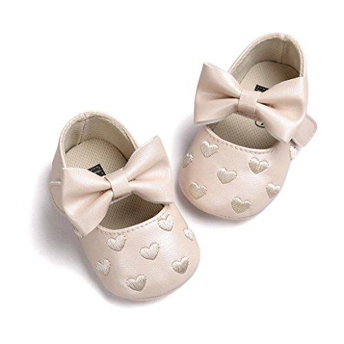 Hunpta Baby Mädchen Bowknot Leater Schuhe Sneaker rutschfest weiche Sohle Toddlerr (Alter: 0 ~ 6M, Rot) Khaki