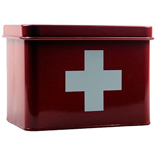 Interstil Interior 132220 Medizinbox rot weiß mit weißem Kreuz, Praktische Medizinbox aus Metall gefertigt, Ideal für Erste-Hilfe-Artikel und Hausapotheke geeignet sowie als Aufbewahrungsbox oder Dekorationselement