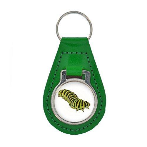 schwarz Schwalbenschwanz Raupe Bild Schlüsselring Geschenkverpackung - bunt Leder - Kelly Green, One size
