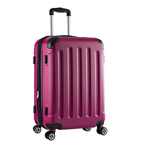 Reisekoffer Hartschale 4 Rollen Koffer Trolleys Gepäck Erweiterbar Hartschalenkoffer ABS Pink L