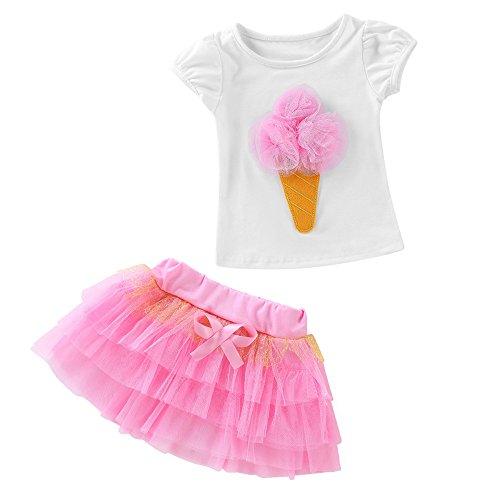 Baby Kinder Mädchen Kleidung Set 2 Stück T-Shirt + Rock Tütü Tüllrock Ballettrock Pettiskirt 3D Eis Shirt Top Geschenk Outfits Verkleidung 1-6 Jahre (Rosa, 12 Monate) (Stück Baby-mädchen-kleidung 2)