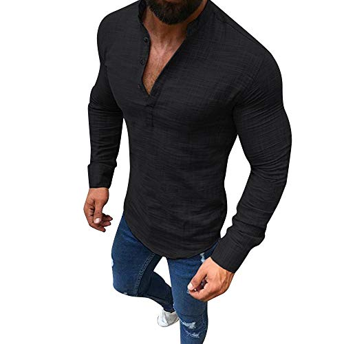 KPILP Männer Solide Lange Ärmel V-Ausschnitt Button Up Leinenhemden Lässig Basic Business Fit Bluse(Schwarz, 3XL -