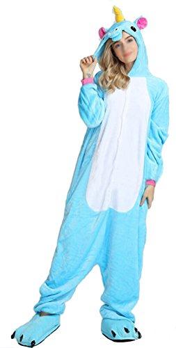 Blauer Kostüm Halloween Overall (SMITHROAD Jumpsuit Tier Karton Fasching Halloween Kostüm Sleepsuit Cosplay Fleece-Overall Pyjama Schlafanzug Erwachsene Unisex Nachtwäsche S/M/L/XL (S, Blau)
