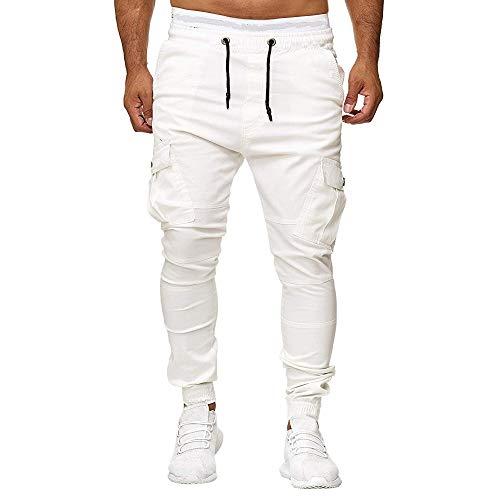 Herren Jogginghose Sweatpants Zipper Gesteppt Mit Seitentaschen Cargo Jogginganzug Jogger MäNner Trainingsanzug Baumwolle Jungen Slim Fit Casual Sport Work Hosen(Weiß,XL) -